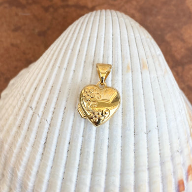 14KT Yellow Gold Polished Detailed Floral Mini Heart Locket Pendant