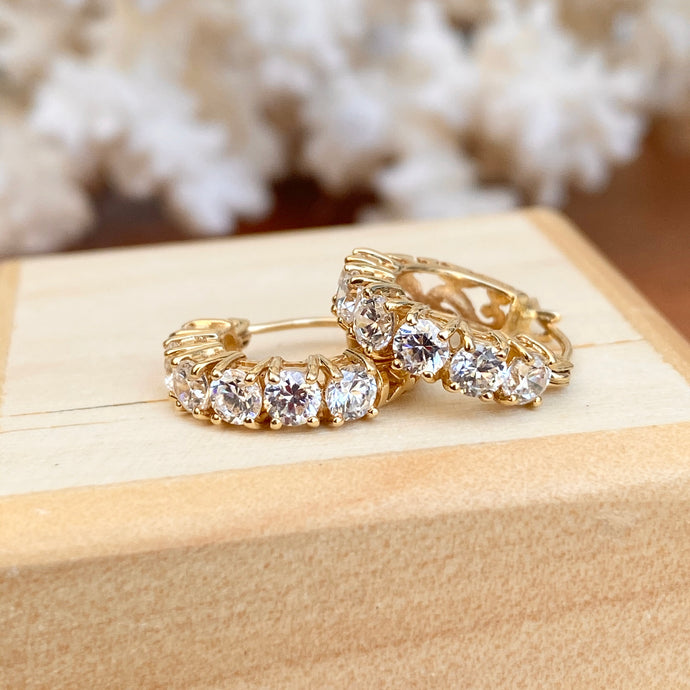 Estate 14KT Yellow Gold CZ Huggie Hoop Earrings