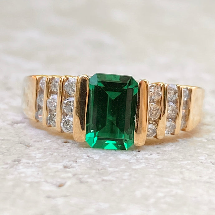 Estate 14KT Yellow Gold 1.00 CT Emerald-Cut Lab Emerald + Diamond RingSOLD, Estate 14KT Yellow Gold 1.00 CT Emerald-Cut Lab Emerald + Diamond RingSOLD - Legacy Saint Jewelry