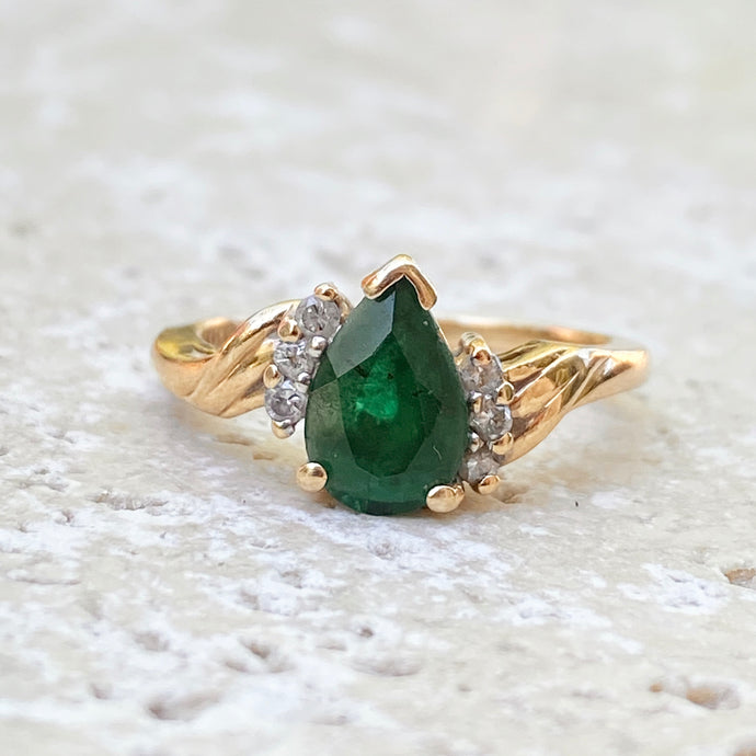 Estate 14KT Yellow Gold Pear Shaped Emerald + Diamond Twisted Ring, Estate 14KT Yellow Gold Pear Shaped Emerald + Diamond Twisted Ring - Legacy Saint Jewelry