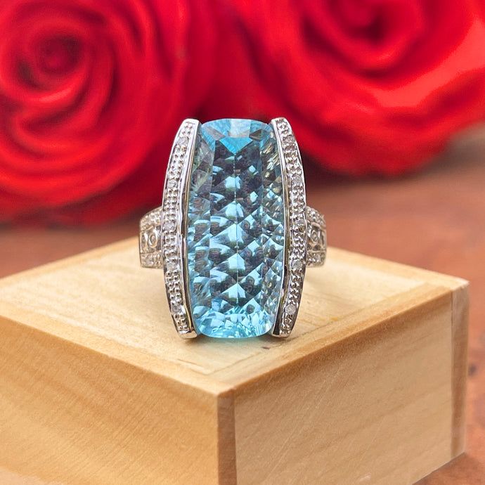 Estate 10KT White Gold Large Fantasy-Cut Blue Topaz + Pave Diamond Ring
