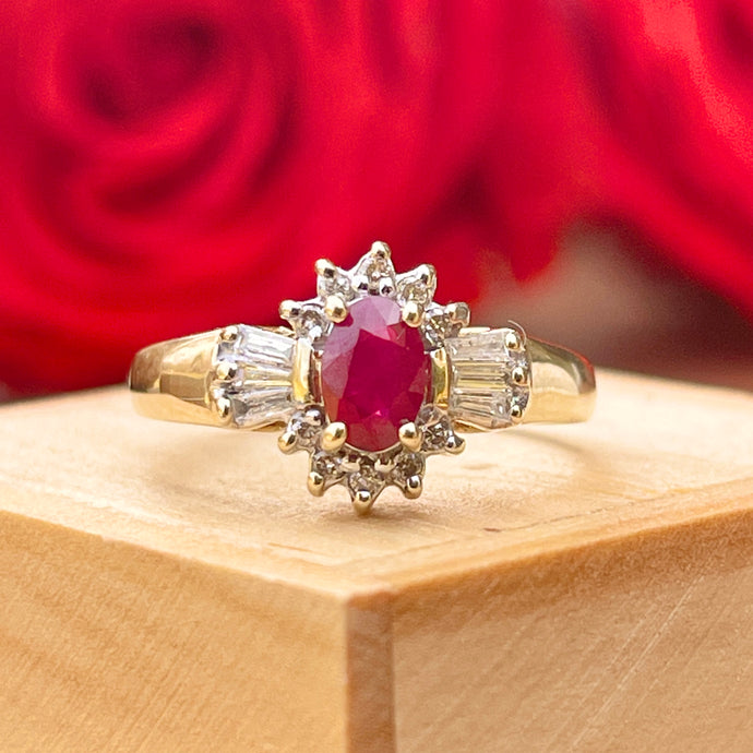 Estate 10KT Yellow Gold Oval 1.20 CT Oval Ruby + Half-Halo Diamond Ring