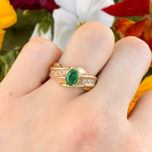 Load image into Gallery viewer, Estate 14KT Yellow Gold Matte Oval Emerald + Gypsy-Set Diamond Ring, Estate 14KT Yellow Gold Matte Oval Emerald + Gypsy-Set Diamond Ring - Legacy Saint Jewelry