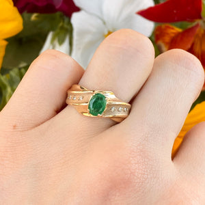 Estate 14KT Yellow Gold Matte Oval Emerald + Gypsy-Set Diamond Ring, Estate 14KT Yellow Gold Matte Oval Emerald + Gypsy-Set Diamond Ring - Legacy Saint Jewelry