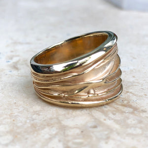 14KT Yellow Gold Wide Artistic Shiny Grooved Cigar Band Ring - Legacy Saint Jewelry