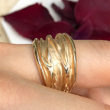 Load image into Gallery viewer, 14KT Yellow Gold Wide Artistic Shiny Grooved Cigar Band Ring - Legacy Saint Jewelry