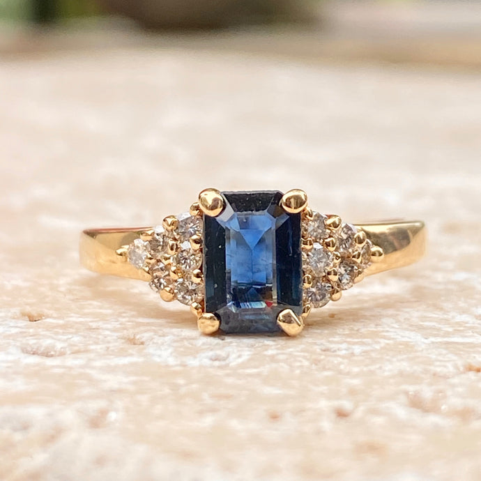 Estate 14KT Yellow Gold Emerald-Cut Blue Sapphire + Diamond Accent Ring, Estate 14KT Yellow Gold Emerald-Cut Blue Sapphire + Diamond Accent Ring - Legacy Saint Jewelry