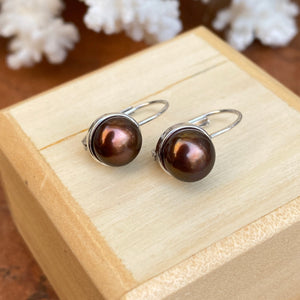 14KT White Gold  Chocolate Freshwater Pearl Euro Wire Drop Earrings - Legacy Saint Jewelry