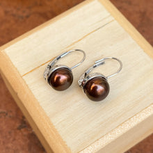 Load image into Gallery viewer, 14KT White Gold  Chocolate Freshwater Pearl Euro Wire Drop Earrings - Legacy Saint Jewelry