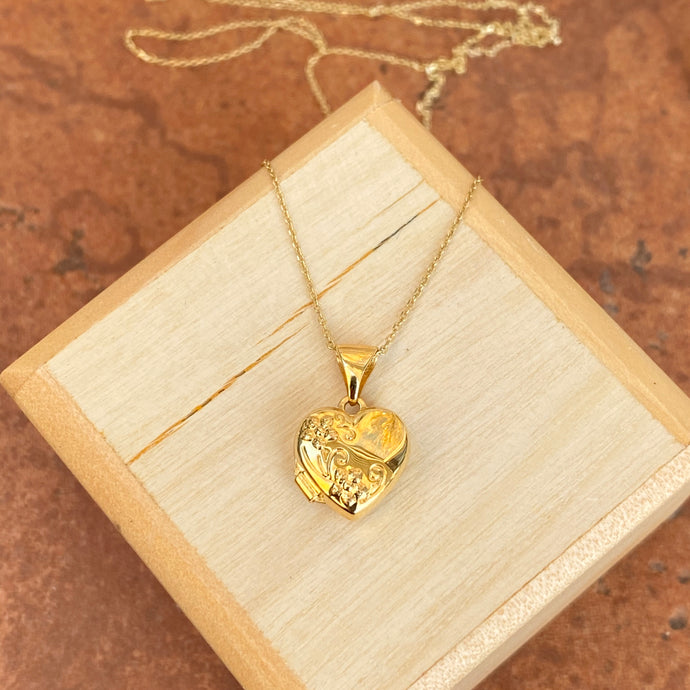 14KT Yellow Gold Floral Heart Locket Pendant Necklace
