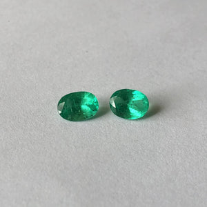 Colombian Oval Loose Emerald Pair 1.42 CT, Colombian Oval Loose Emerald Pair 1.42 CT - Legacy Saint Jewelry