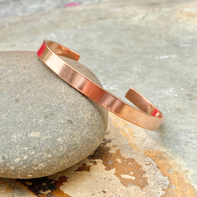 Copper Polished Smooth Cuff Bangle Bracelet 6.4mm, Copper Polished Smooth Cuff Bangle Bracelet 6.4mm - Legacy Saint Jewelry
