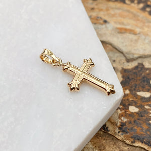 14KT Yellow Gold Fleur de Lis Hollow Pendant Charm, 14KT Yellow Gold Fleur de Lis Hollow Pendant Charm - Legacy Saint Jewelry
