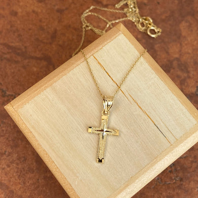 10KT Yellow Gold Diamond-Cut Cross Pendant Necklace
