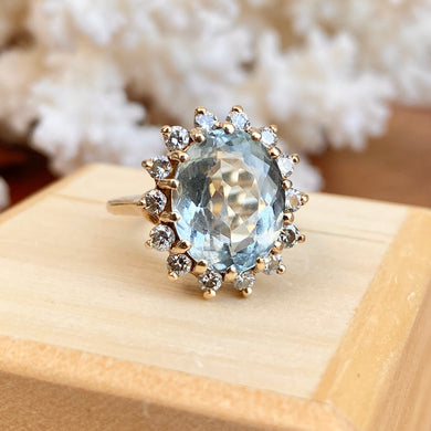 Estate 14KT Yellow Gold Oval 3 CT Aquamarine + Diamond Halo Ring