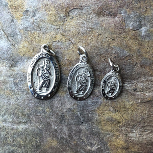 10KT White Gold Saint Christopher Medal Pendant Charm, 10KT White Gold Saint Christopher Medal Pendant Charm - Legacy Saint Jewelry