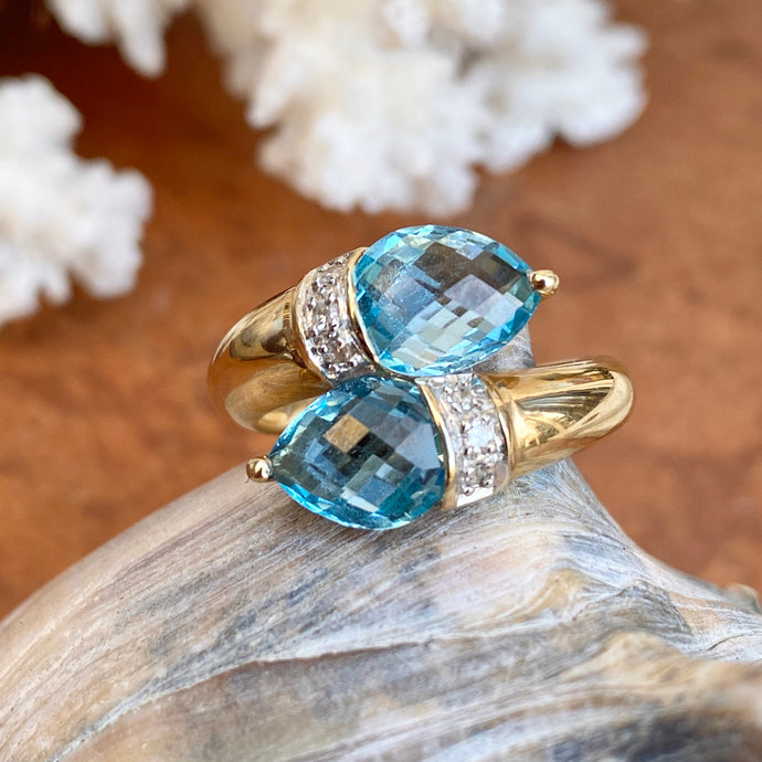 Estate 14KT Yellow Gold Pear Blue Topaz + Diamond Accent Bypass Ring