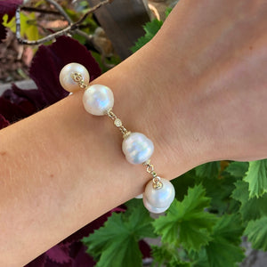 "14KT Yellow Gold + Paspaley South Sea Pearl Spacers Bracelet 8"", 14KT Yellow Gold + Paspaley South Sea Pearl Spacers Bracelet 8"" - Legacy Saint Jewelry"