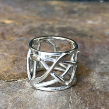 "Load image into Gallery viewer, ""The Sharona"" 14KT White Gold Wide Cigar Band Ring Size 8 - Legacy Saint Jewelry"