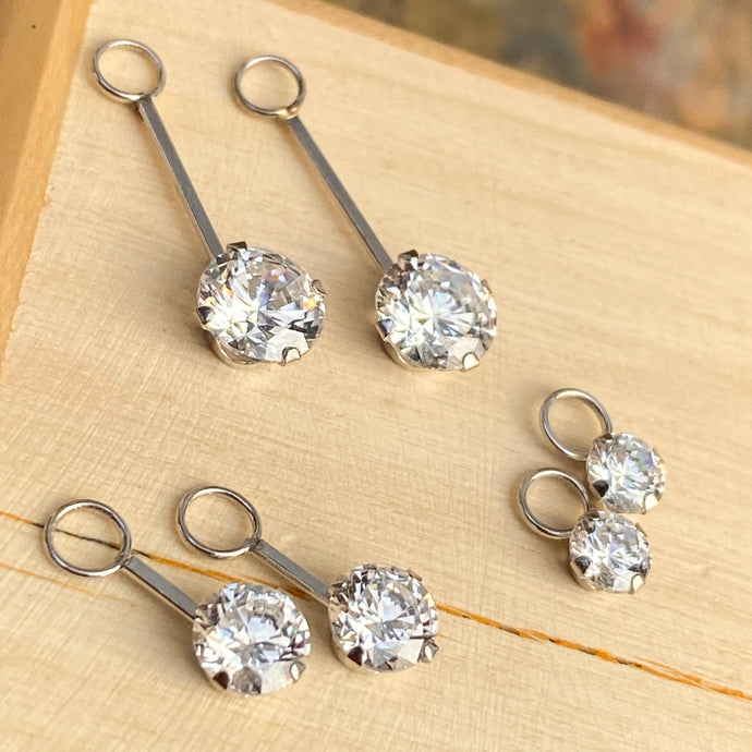 14KT White Gold Round CZ Set of 3 Dangle Earring Charms
