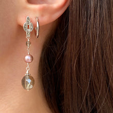 Load image into Gallery viewer, Sterling Silver Freshwater Cultured Cream Pearl + Glass Dangle Earrings