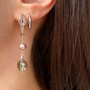 Sterling Silver Freshwater Cultured Cream Pearl + Glass Dangle Earrings