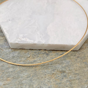 "14KT Yellow Gold Rope Twist Weave Chain Omega Neck Wire Necklace 16""/ 1.2mm, 14KT Yellow Gold Rope Twist Weave Chain Omega Neck Wire Necklace 16""/ 1.2mm - Legacy Saint Jewelry"