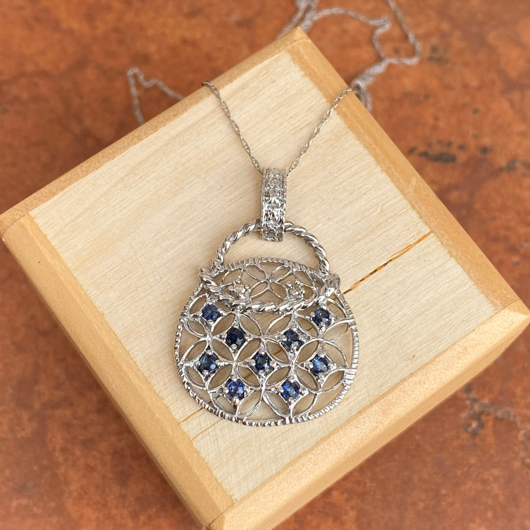 10KT White Gold Blue Sapphire + Diamond Purse Pendant Chain Necklace