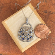 Load image into Gallery viewer, 10KT White Gold Blue Sapphire + Diamond Purse Pendant Chain Necklace