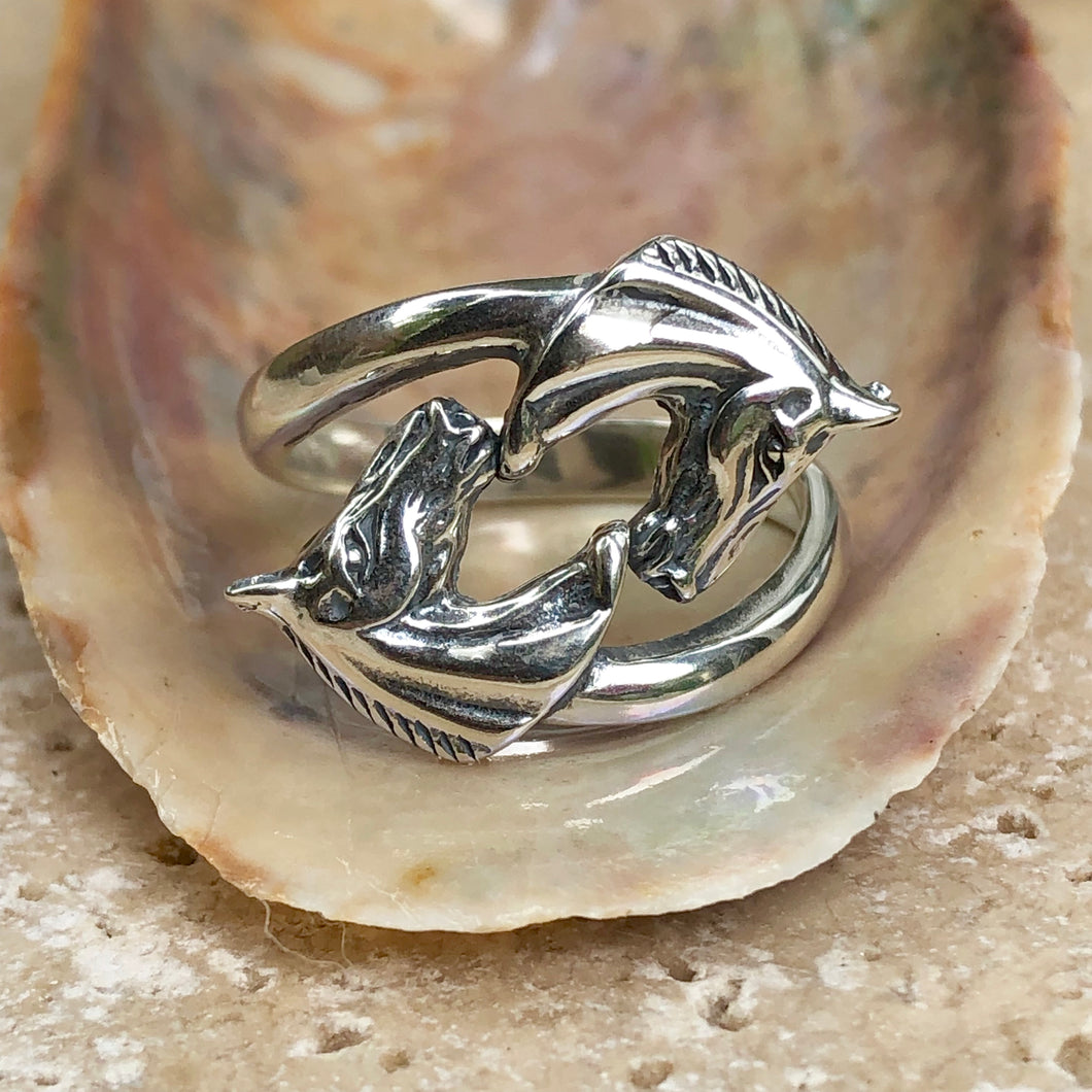 Sterling Silver Double Horse Head Bypass Ring, Sterling Silver Double Horse Head Bypass Ring - Legacy Saint Jewelry