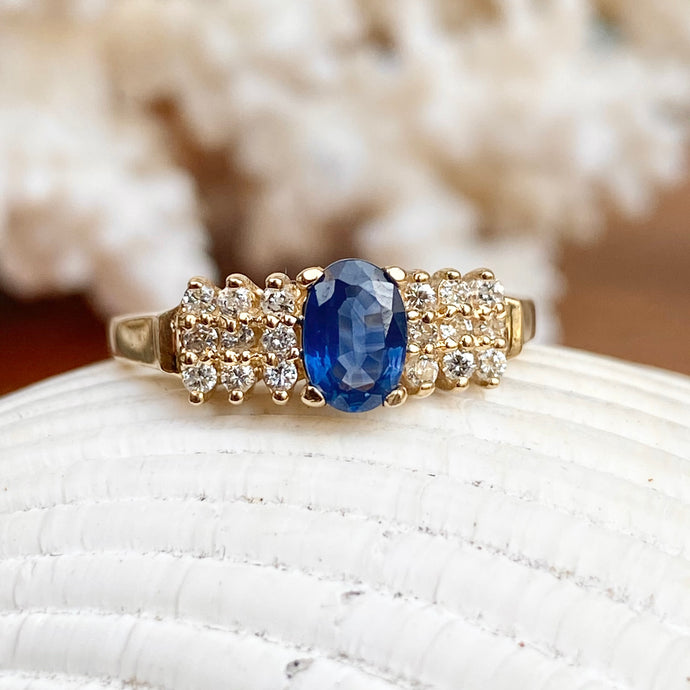 Estate 14KT Yellow Gold Oval Blue Sapphire + 1/4 CT Diamond Accent Ring