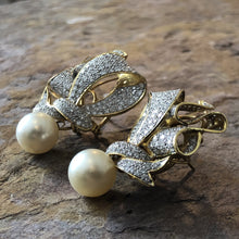 Load image into Gallery viewer, Estate 18KT Yellow Gold Ribbon Design Pave Diamond + South Sea Pearl Earrings, Estate 18KT Yellow Gold Ribbon Design Pave Diamond + South Sea Pearl Earrings - Legacy Saint Jewelry