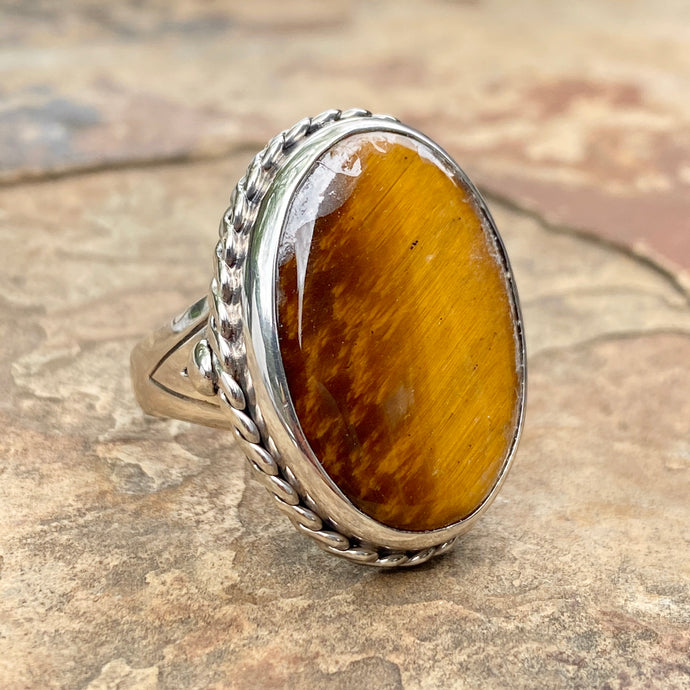 Sterling Silver Antiqued Oval Tiger Eye Cocktail Ring, Sterling Silver Antiqued Oval Tiger Eye Cocktail Ring - Legacy Saint Jewelry