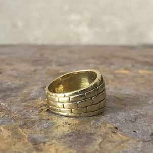 14KT Yellow Gold Wide Brick Design Cigar Band Custom Ring, 14KT Yellow Gold Wide Brick Design Cigar Band Custom Ring - Legacy Saint Jewelry