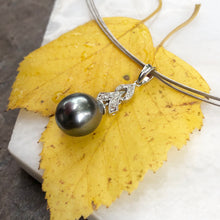 Load image into Gallery viewer, 14KT White Gold Gray Tahitian Pearl + Diamond Teardrop Pendant, 14KT White Gold Gray Tahitian Pearl + Diamond Teardrop Pendant - Legacy Saint Jewelry
