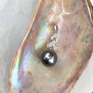 14KT White Gold Gray Tahitian Pearl + Diamond Teardrop Pendant, 14KT White Gold Gray Tahitian Pearl + Diamond Teardrop Pendant - Legacy Saint Jewelry