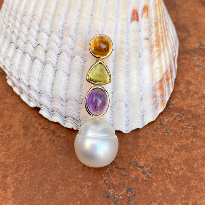 14KT Yellow Gold Peridot, Amethyst, Citrine + Paspaley South Sea Pearl Pendant Slide