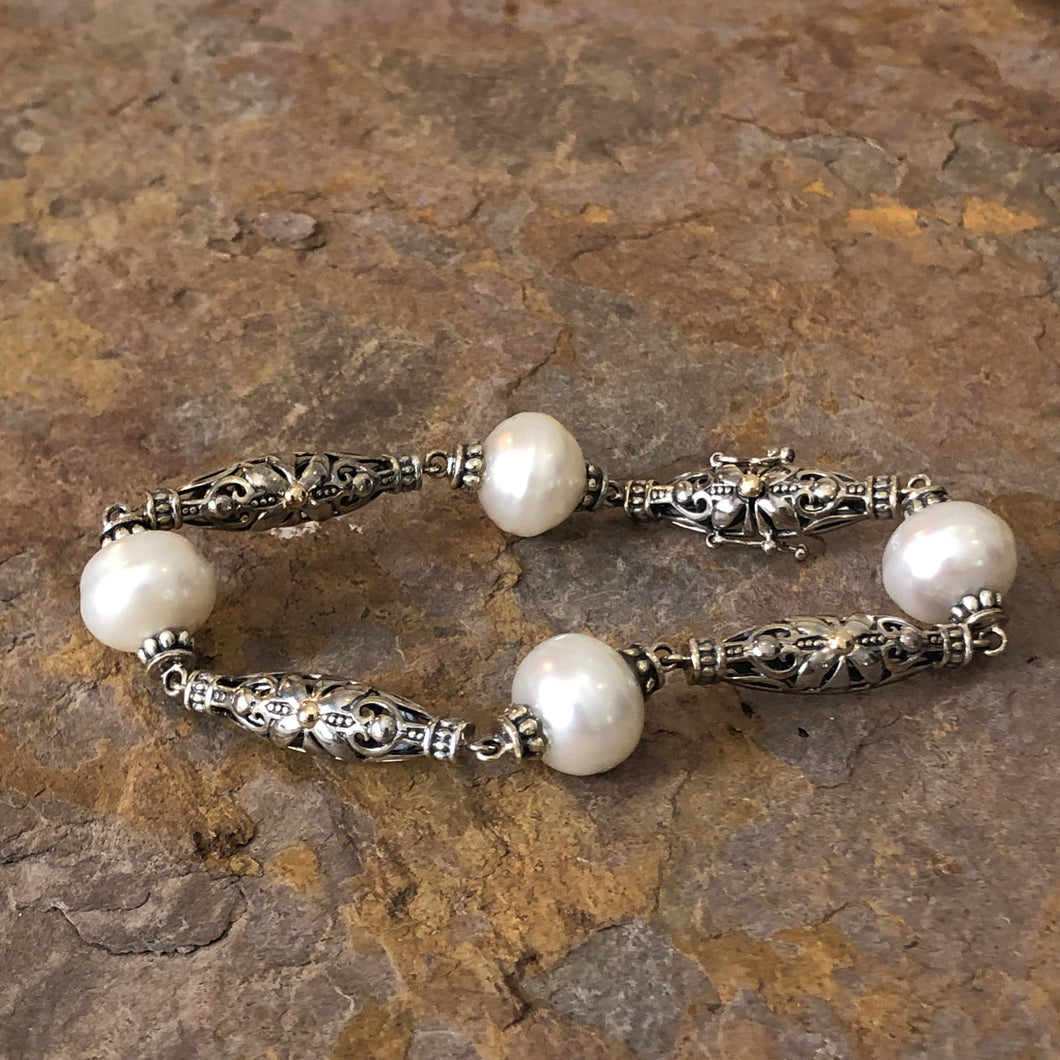 14KT Yellow Gold + Sterling Silver Link Paspaley South Sea Pearl Bracelet, 14KT Yellow Gold + Sterling Silver Link Paspaley South Sea Pearl Bracelet - Legacy Saint Jewelry