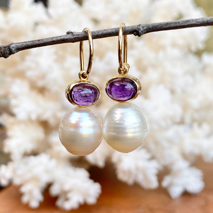 14KT Yellow Gold Amethyst + 10mm Paspaley South Sea Pearl Shepard Hook Earrings