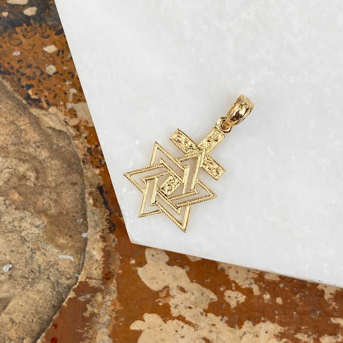 14KT Yellow Gold Engraved Star of David Cross Pendant Charm, 14KT Yellow Gold Engraved Star of David Cross Pendant Charm - Legacy Saint Jewelry