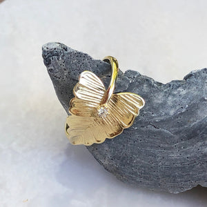 14KT Yellow Gold Diamond Leaf Ring, 14KT Yellow Gold Diamond Leaf Ring - Legacy Saint Jewelry