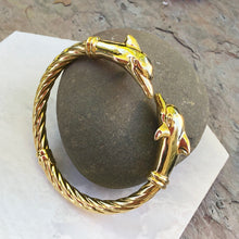 Load image into Gallery viewer, Estate 14KT Yellow Gold Double Dolphin Head Bangle Bracelet, Estate 14KT Yellow Gold Double Dolphin Head Bangle Bracelet - Legacy Saint Jewelry