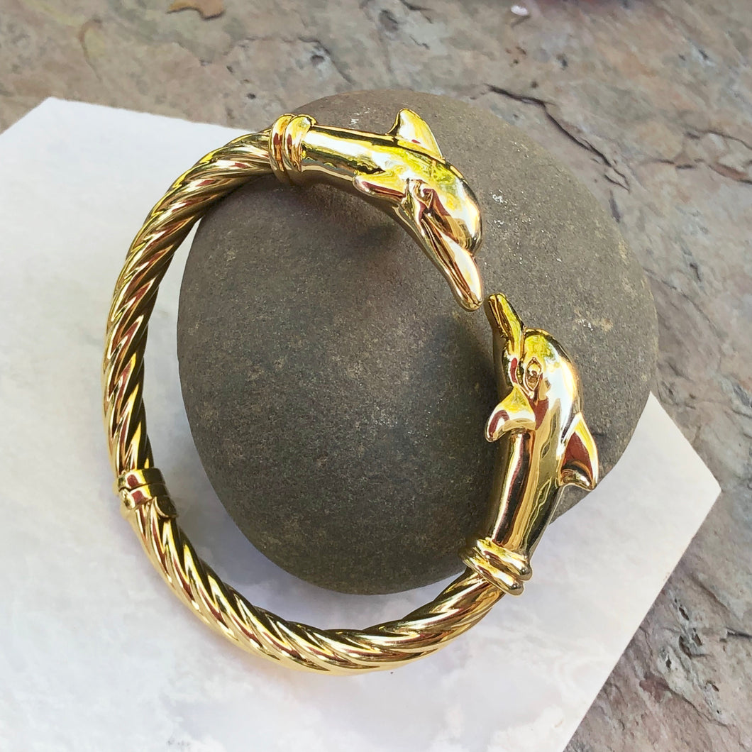 Estate 14KT Yellow Gold Double Dolphin Head Bangle Bracelet, Estate 14KT Yellow Gold Double Dolphin Head Bangle Bracelet - Legacy Saint Jewelry