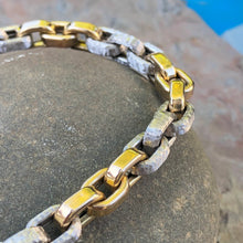Load image into Gallery viewer, Estate 14KT Yellow Gold + White Gold Shiny Rounded Rolo Link Toggle Bracelet, Estate 14KT Yellow Gold + White Gold Shiny Rounded Rolo Link Toggle Bracelet - Legacy Saint Jewelry