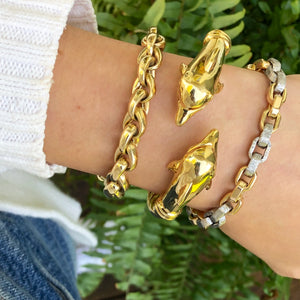 "Estate 14KT Yellow Gold Shiny Rounded Link Toggle Bracelet  7.75"", Estate 14KT Yellow Gold Shiny Rounded Link Toggle Bracelet  7.75"" - Legacy Saint Jewelry"