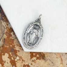 Load image into Gallery viewer, Sterling Silver Antiqued Miraculous Medal Oval Pendant 20mm, Sterling Silver Antiqued Miraculous Medal Oval Pendant 20mm - Legacy Saint Jewelry