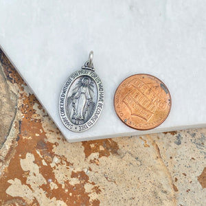Sterling Silver Antiqued Miraculous Medal Oval Pendant 20mm, Sterling Silver Antiqued Miraculous Medal Oval Pendant 20mm - Legacy Saint Jewelry