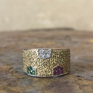 Estate 18KT White Gold Yellow Sapphire, Tsavorite Green Garnet + Ruby Ring - Legacy Saint Jewelry