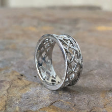 Load image into Gallery viewer, 10KT White Gold Irish/Scottish Celtic Open Weave Band Ring, 10KT White Gold Irish/Scottish Celtic Open Weave Band Ring - Legacy Saint Jewelry