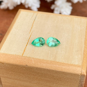Colombian Emerald Cut Pear Shape Loose Emerald Pair 1.22 CT - Legacy Saint Jewelry